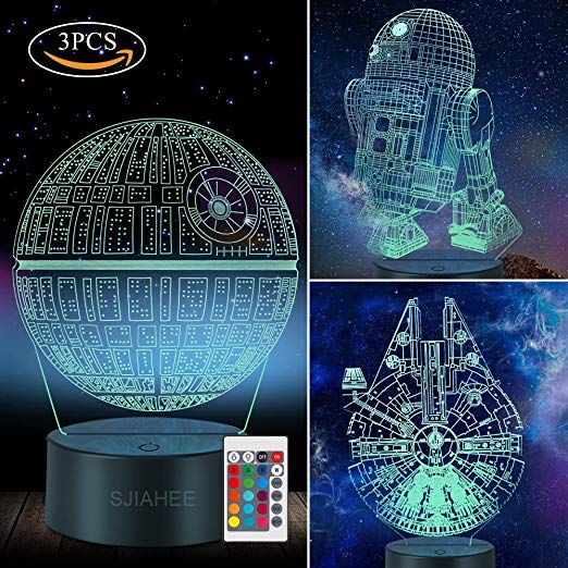 3d Illusion Lamp Star Wars Night Light Three Pattern And 7 Color Change Decor Lamp With Remote Star Wars Night Light Star Wars Lamp Star Wars Light