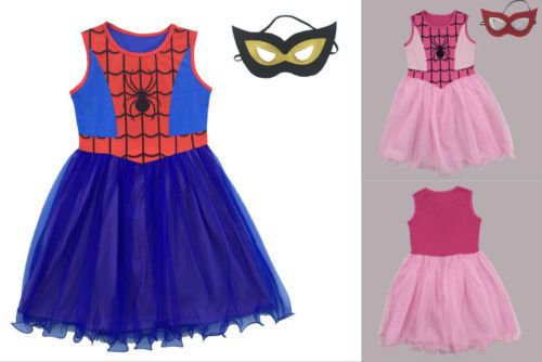 Kids Girls Spiderman Costume Dress Spider-girl Superhero Halloween Fancy Dress
