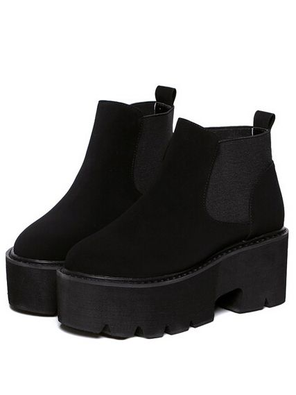Black Heavy-bottomed Elastic Boots
