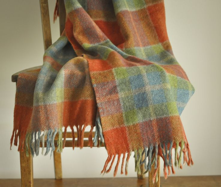 Vintage Beautiful Plaid Thick Felted Wool Throw Blanket with Fringe by drowsySwords on Etsy