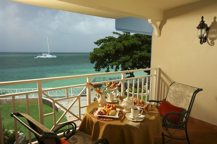 Have breakfast, lunch or dinner overlooking the beautiful waters of Montego Bay, Jamaica #sandalsresorts