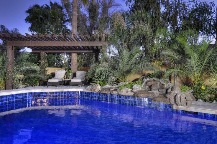 Custom Blue Tile Pool With Rock Waterfall Scottsdale Arizona Spaces Pools Spas