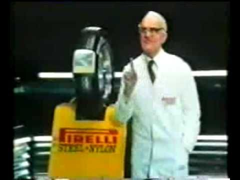 """Pirelli Tyres with the lovely Stanley Unwin, inventor of 'Unwinese""""."""