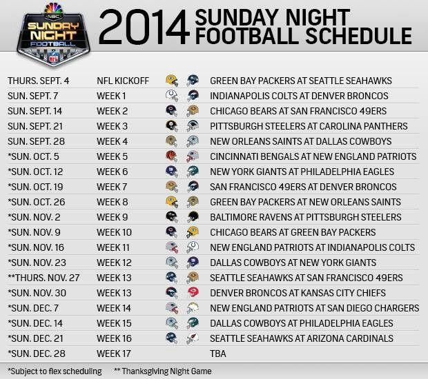 2014 NFL SUNDAY NIGHT FOOTBALL SCHEDULE