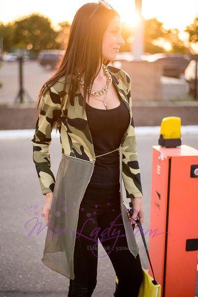 """Оригинальный женский кардиган """"Rachael"""" камуфляж с шифоновым шлейфом и длинным рукавом"""