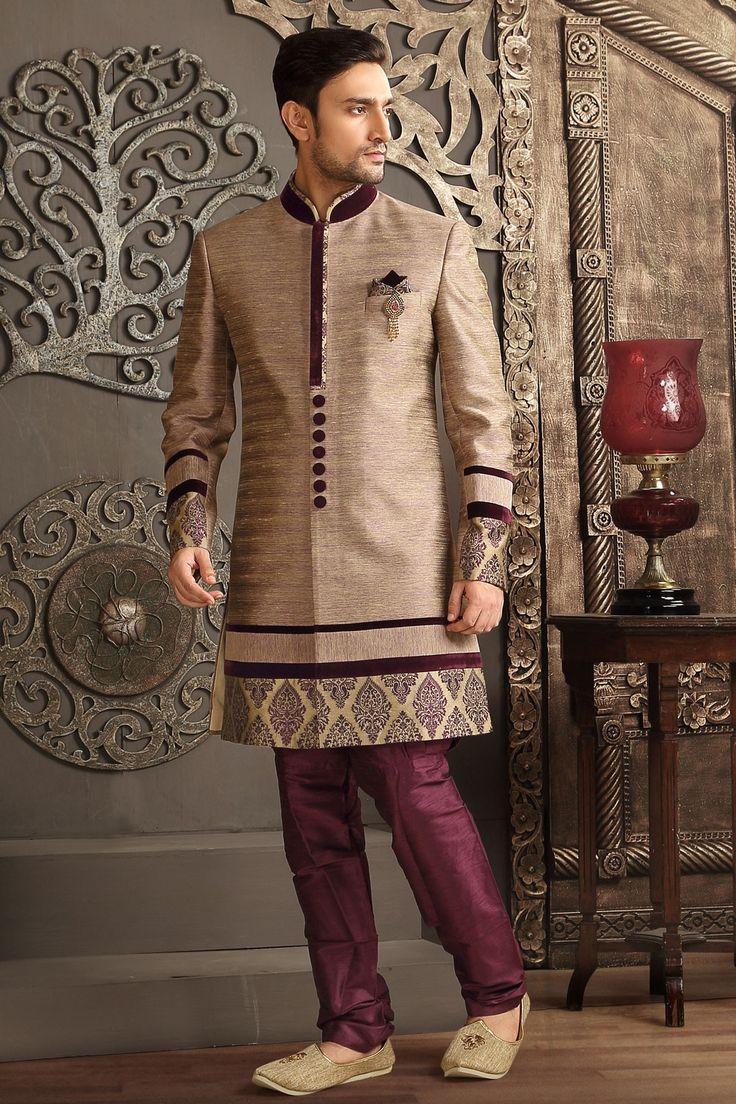 #Beige & #Wine brocade weaved staright cut #sherwani -SH145