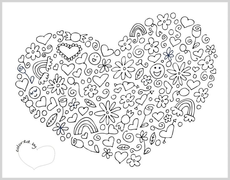 115 best iColor  - copy coloring pages with hearts and flowers