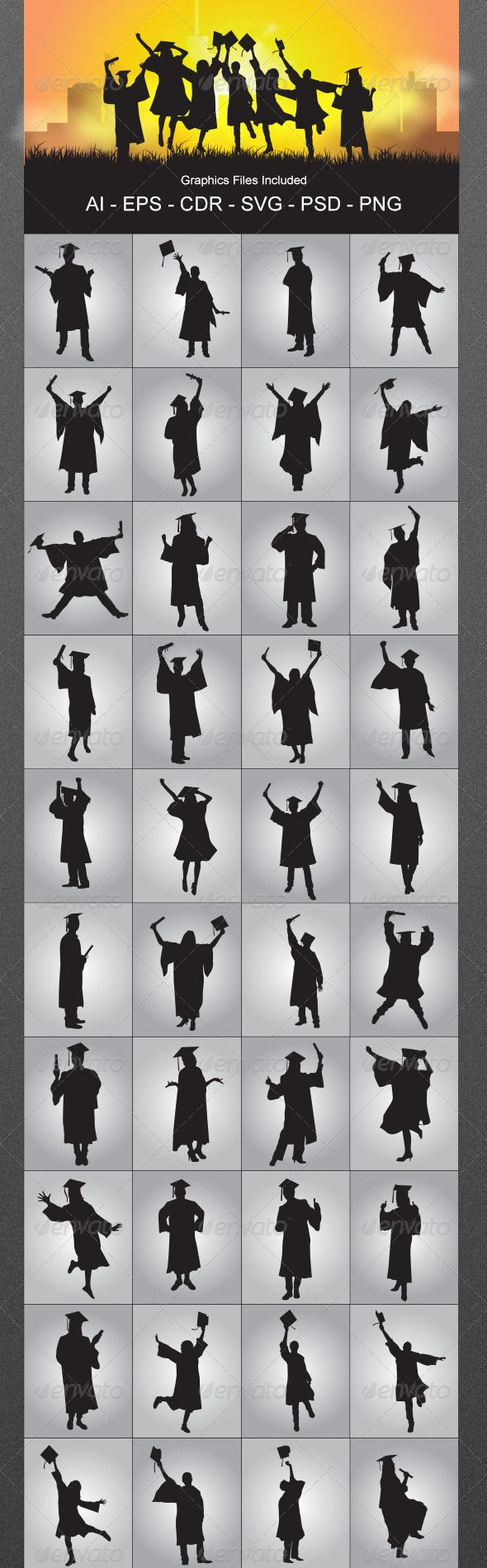 Graduates Silhouettes — Photoshop PSD #college #education • Available here → https://graphicriver.net/item/graduates-silhouettes/5680338?ref=pxcr