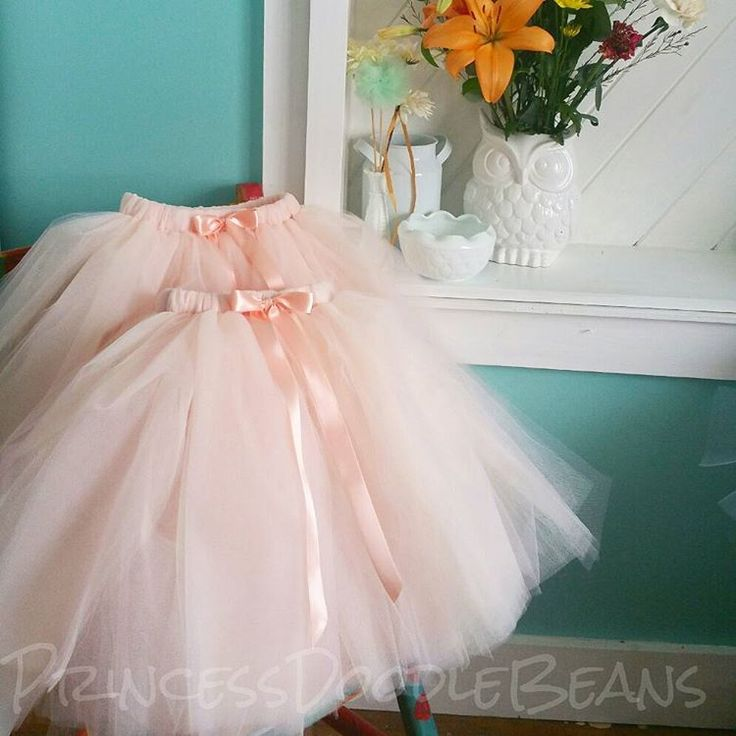 Pink Champagne blend tulle skirts by PrincessDoodleBeans on Etsy. Light pink over Ivory and Beige/Champagne tulle blend. Unique and beautiful tutu skirts for Flower girls. Wedding inspiration.