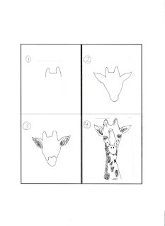 for the drawing/art incapable...instructions on how to draw outlines so children can paint.: Everything Giraffes, Art Drawing, Dibuix Drawing, Giraffe Drawing, Drawing Step, Doodles Drawing