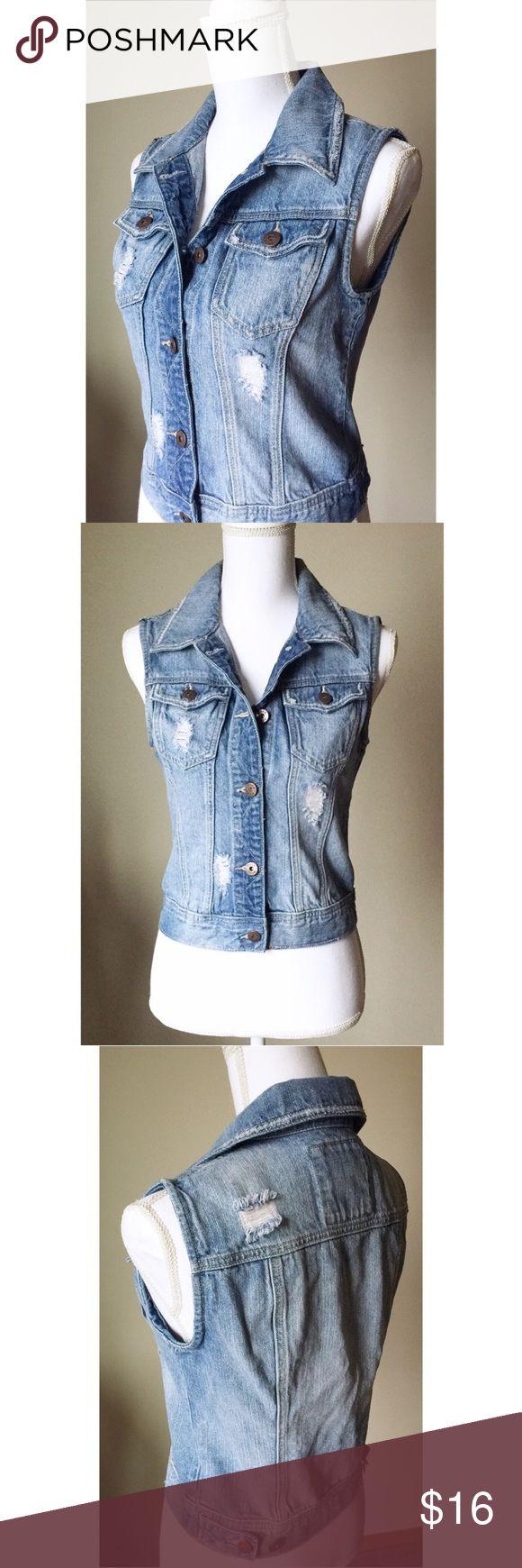 Sleeveless Denim Jacket Distressed sleeveless jean jacket. NWOT. Jackets & Coats Jean Jackets