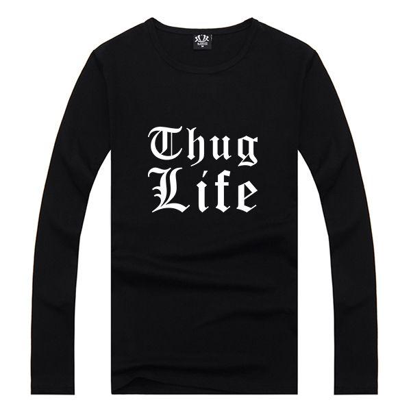 2PAC Thug Life Letter Print T shirt Male Tshirt Men Long Sleeve Tee Shirts Anime Skateboard Palace Black Summer Clothing Kpop #Affiliate