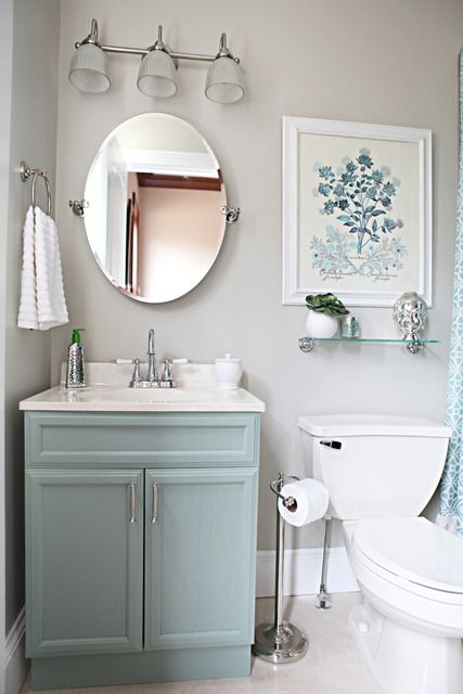 small bathroom - like these colorsHalf Baths, Bathroom Makeovers, Guest Bathroom, Small Bathroom, Colors, Grey Wall, Painting Vanities, Bathroom Ideas, Powder Rooms