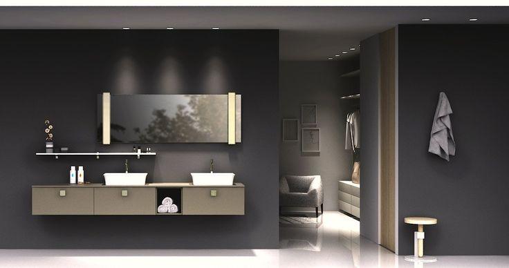 arredobagno del nuovo sistema maniglia Puntotre: finitura in matrix argilla e lavabo in mineralmarmo dalla sagoma svasata #bagno #arredobagno #bathroom #interiordesign