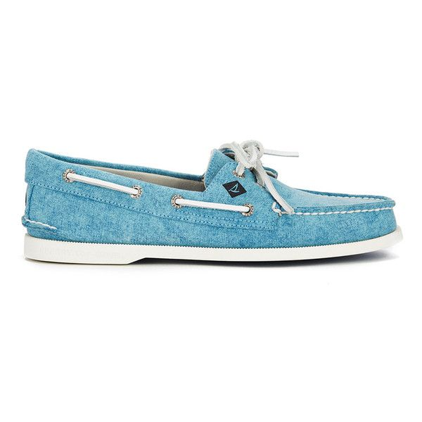 Sperry Men's A/O 2-Eye White Cap Canvas Boat Shoes - Turquoise ($94) ❤ liked on…
