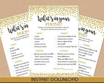 What's In Your Phone Game, Black and Gold, Confetti, Dots, Bridal Shower Game, Instant Download, Printable, PDF