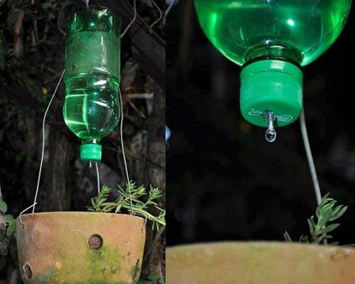 Sistema de riego casero por goteo con tornillo