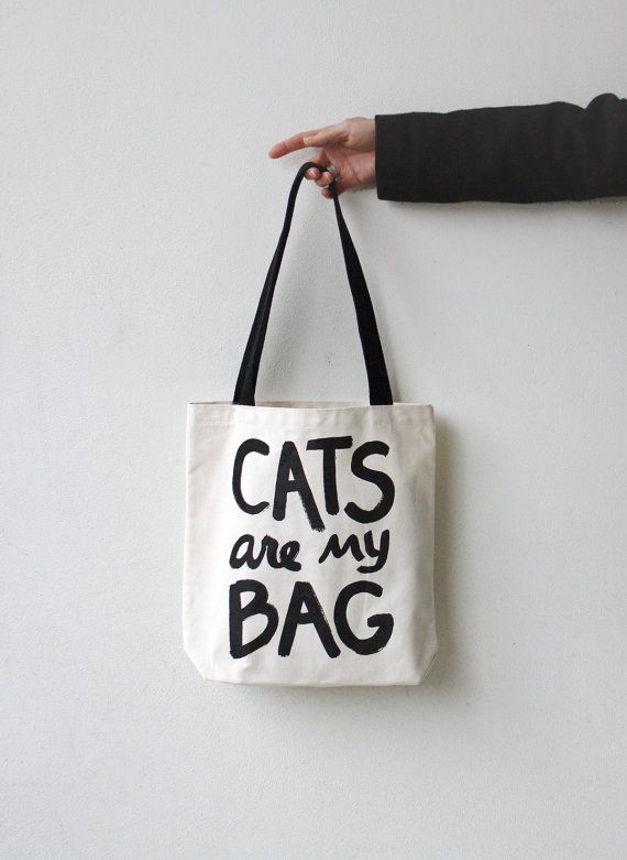 Cat tote bag : CATS are my BAG - market tote, gift for cat lover, reusable canvas tote bag, screen printed, hand lettering, typography bag on Etsy, 11,20 €