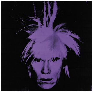 This is a self-portrait by Andy Warhol. He has used a great use of light and dark colours to make a contrast of the face to the background. The black makes the purple look more like a lightning effect on the page.