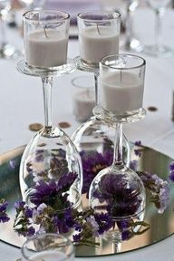 Candle centerpieces #wedding (great idea)