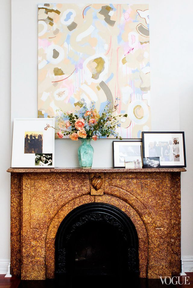 Young Barbara Bush is lucky to have an artist boyfriend (Miky Fabrega), who has given her a number of cool art pieces, including the peachy abstract painting shown here above her fireplace.