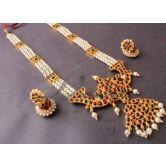 Beautiful Multi Strand Temple Design Necklace Set-dj0402