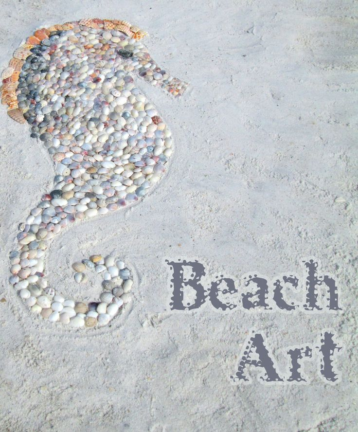 Create stunning artwork on the beach using shells. This shell seahorse took about an hour two make, Fun beach activity for kids and grown ups. Brought to you by Creative in Chicago http://www.creativeinchicago.com/2014/01/shell-art-on-the-beach.html