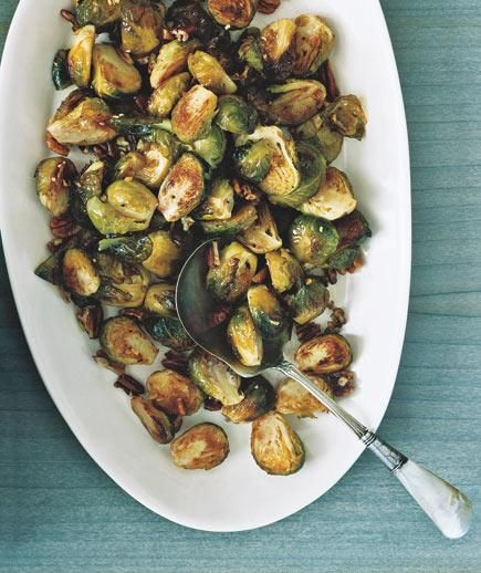 A recipe to turn around even the most dedicated Brussels sprouts skeptic: Roasted with oil, garlic, and pecans, it's the perfect combination of crunchy and sweet. | From appetizers to desserts, recipes as special as the holiday itself.