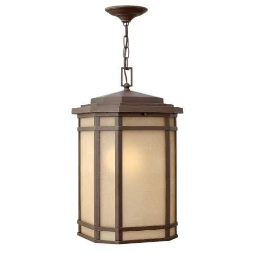 Hinkley Lighting 1272-GU24 1 Light Outdoor Lantern Pendant with Fluorescent Lamping from the Cherry Creek Collection (Black Finish) (Aluminum)