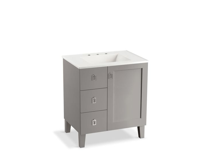 K-99530-LGL | Poplin 30-inch Vanity with Legs, 1 Door, 3 Drawers | KOHLER