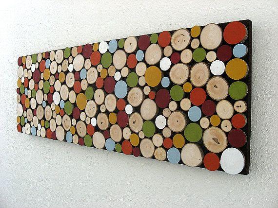 Moderne rustikale Holz-Skulptur Wanddekoration von ModernRusticArt