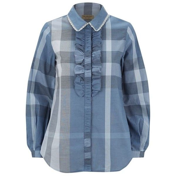 Burberry House Check Ruffle Shirt ($290) ❤ liked on Polyvore featuring tops, frilly shirt, blue checkered shirt, burberry shirt, shirt top and blue shirt