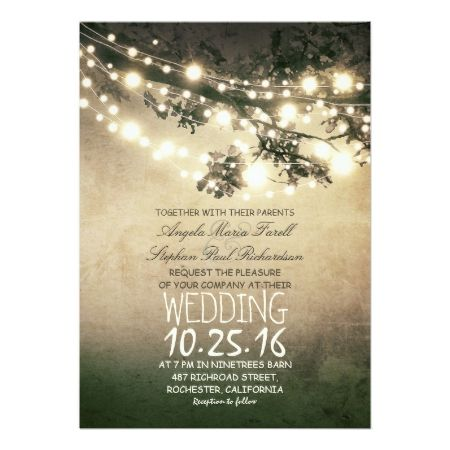 Rustic Tree Branches and Lights Vintage Wedding Card - tap, personalize, buy right now!