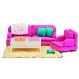 Lundby 60.2067.00 - Smaland: Wohnzimmer pink mit Tisch für Puppenhaus