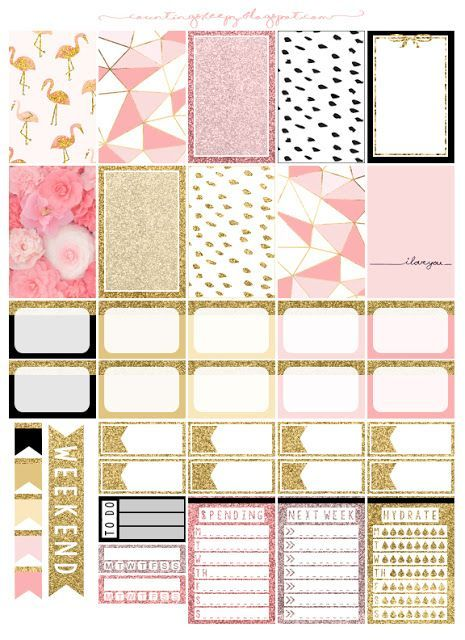 Free Printable Pink & Gold Planner Stickers from Counting Sheepy