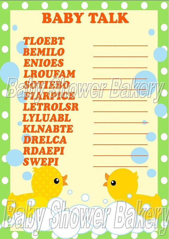 See which baby shower guest can unscramble these baby related words first with this printable rubber duck themed shower game! $5.00 #rubber #duck #baby #shower #word #scramble #game #printable #neutral #unisex