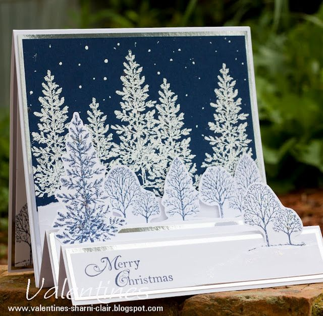 Stampin' Up! ... Lovely as a Tree ... step card format ... snowy scene ... trees covered with snow ... luv the depth from putting trees in different sizes on the steps ... great card!