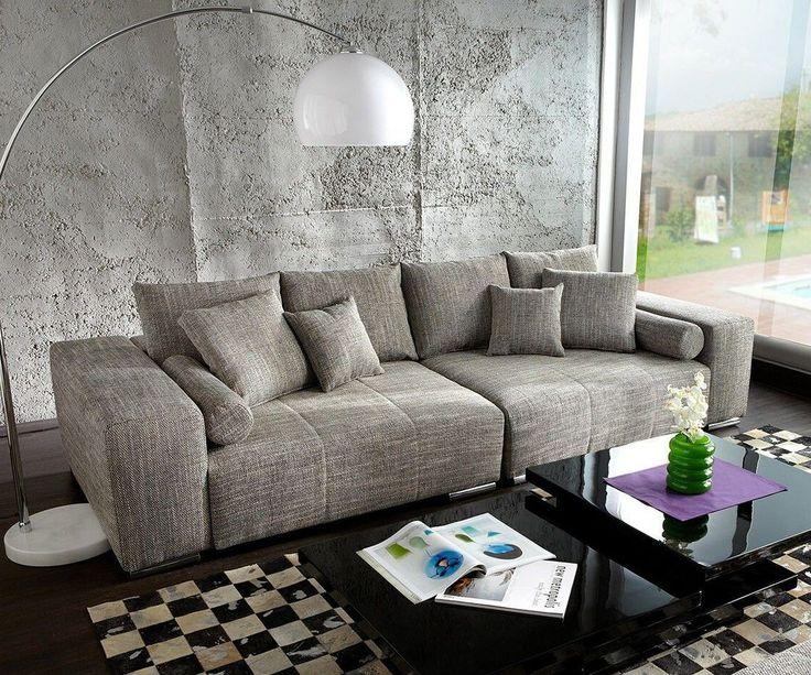 DELIFE Big-Sofa Marbeya 285x115 cm Hellgrau Couch mit Kissen, Big Sofas 3838-3870-0
