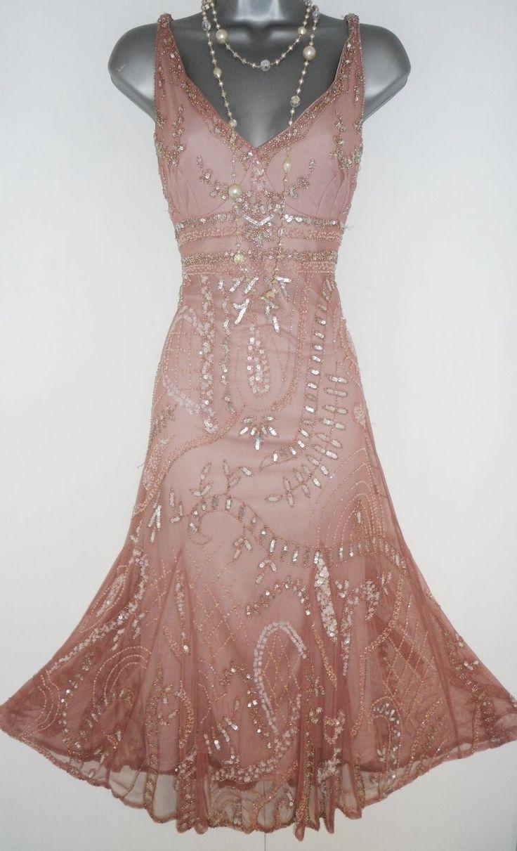 Principles Pink Embellished Deco Gatsby Flapper Charleston Evening Dress Size 14 | eBay