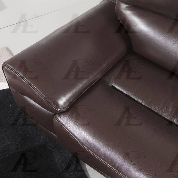 American Eagle Furniture Ek018 Db Dark Brown Italian Leather Sofa