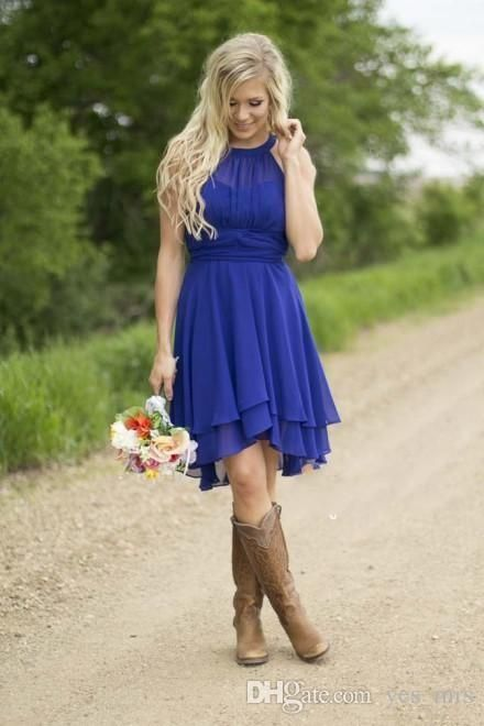 2016 New Royal Blue Country Bridesmaid Dresses Short 2015 Modest Halter Cheap Western Wedding Guest Wear Plus Size Knee Length Formal Gowns Online with $73.3/Piece on Yes_mrs's Store | DHgate.com