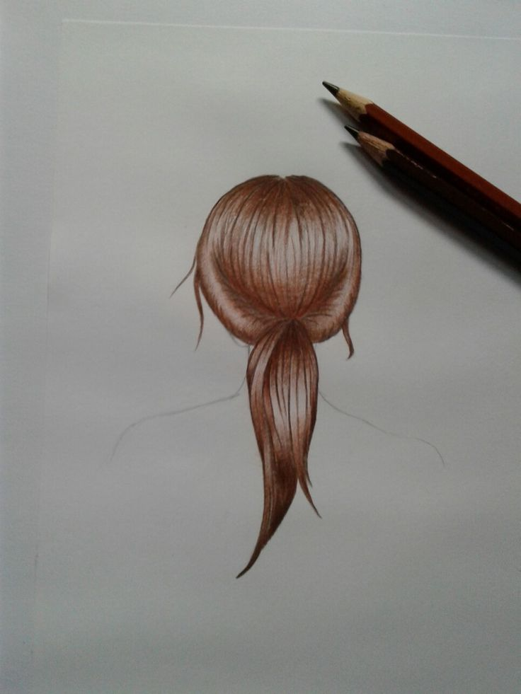 #drawing of a girl's hair using only two coloured pencils: Lakeland Colourthin Light Brown 278 and Dark Brown 276