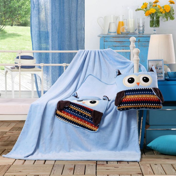 Detské deky 3v1 svetlo modrej farby so sovičkami