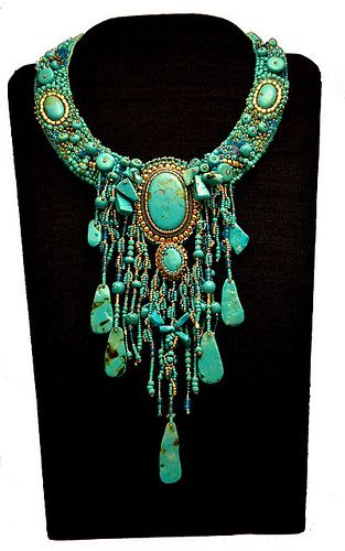 Polymer turquoise necklace grande by kathy43_sparky, via Flickr