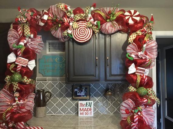 Christmas Swag, Christmas Door Garland, Christmas decorations, elf  decorations About 24ft - Christmas Swag, Christmas Door Garland, Christmas Decorations, Elf