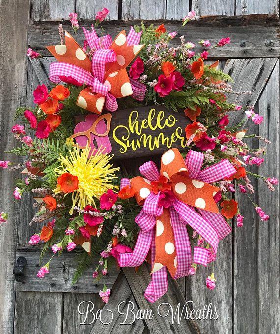 Summer Wreath Tropical Wreath Beach Wreath For Front Door Wreath