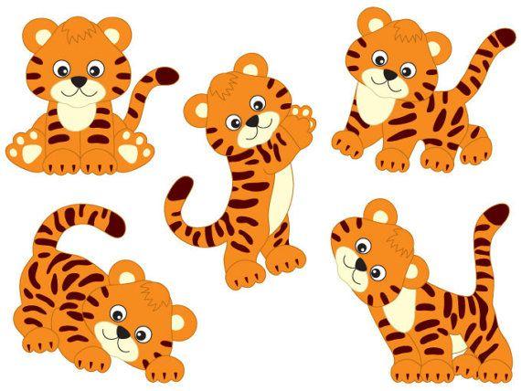 Cute Tiger Clipart Digital Vector Safari Animal Clipart Etsy Cartoon Tiger Animal Clipart Cute Tigers