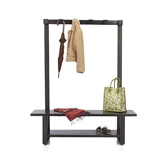 Welkom hall tree bench with coat rack in entryway storage crate and barrel home decor diy Storage bench with coat rack