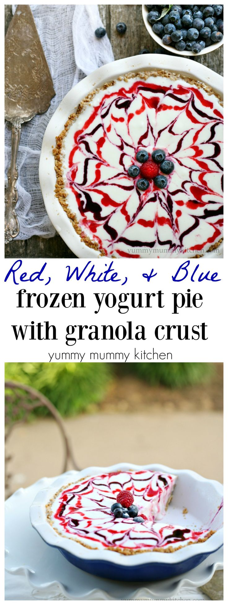 Red, White, and Blue Pie made with berry sauces and Granola Crust. We love this pie for Memorial Day or 4th of July! The crunchy crust is so tasty!