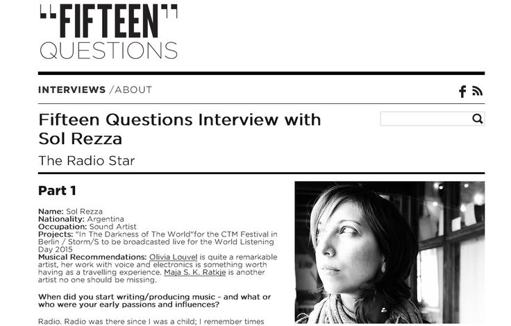 Fifteen Questions Interview with Sol Rezza The Radio Star http://www.15questions.net/interview/fifteen-questions-interview-sol-rezza/page-1/